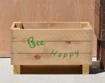 Bee Happy ~ Planter, Indoor or Outdoor Wood Planter, Personalized Wooden Planter, Succulent Planter Box, Customized Cedar Planter