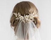 Bridal Comb, Bridal Veils, Bridal Hair pin,Floral Wedding Accessory, Rhinestone Floral Comb,Bridal Headpiece,Wedding Comb,Pearl Hair Comb.