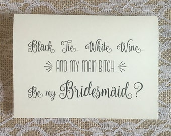 Bridesmaid Card - black tie