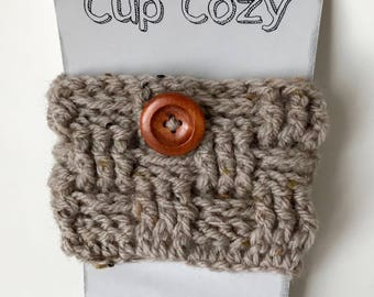 Cup cozy, cozy cup, coffee cozy sleeve for coffee (small basket ash Brown)