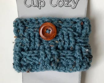 Cup cozy, cozy cup, coffee cozy sleeve for coffee (small basket stone blue)