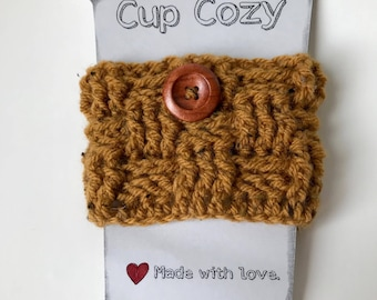 Cup cozy, cozy cup, coffee cozy sleeve for coffee (small basket of harvest gold)