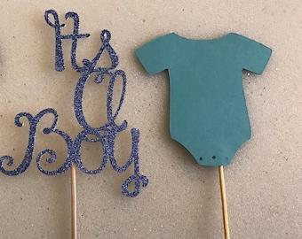 12 Blue Glitter Its A Boy Cupcake Topper, It's A Boy, Baby Shower, Boy Baby Shower, Blue Baby Shower, Gender Reveal
