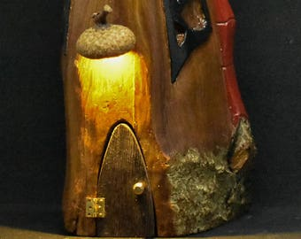 Hand Carved Cottonwood Bark Gnome / Fairy home