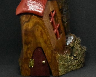 Hand Carved Cottonwood Bark Gnome Home