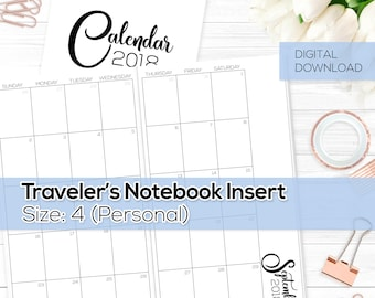 Monthly Calendar 2018 - TN Inserts - Personal / Size No. 4 | TN-MO2P-18-4-D Digital Download Printable