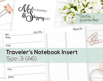 Meal Planning & Shopping List - TN Inserts - Undated 2018 - A6 / Size No. 3 | TN-WO2P-MS-3-D Digital Download Printable