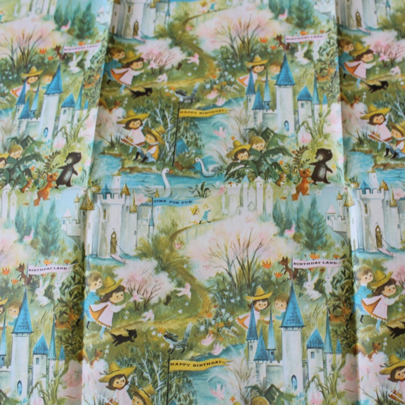 Vintage Colorful Fantasy Flat Folded Child Birthday Land Gift Wrap One Sheet Wrapping Paper Castle Woodland Animals Children River Birds