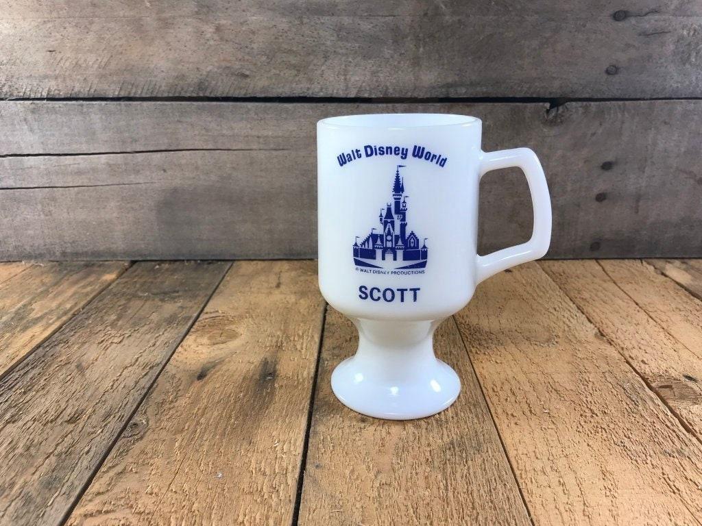 Vintage Walt Disney World Milk Glass Pedestal 'Scott' Mug, Disney Gift,  Magic Kingdom, Cinderella's Castle, Orlando Florida, Mickey Mouse