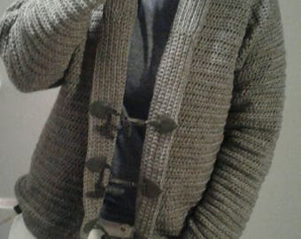 Men's Sweater - Men's Cardigan - Handmade Cardigan Sweater for Men with Toggles or Buttons