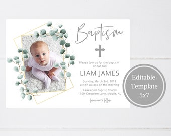 Baptism Invitation Boy INSTANT DOWNLOAD Printable Invitations Template Christening Baptismal