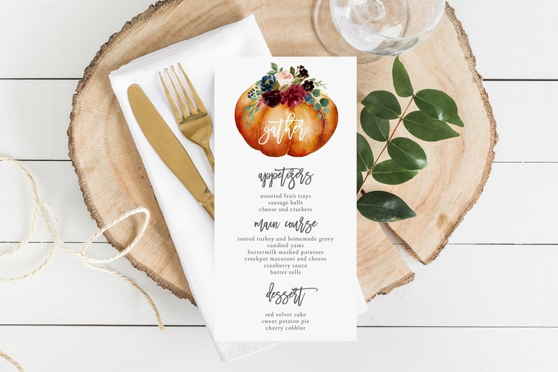 Thanksgiving Menu Template Gather Dinner Card Printable Etsy