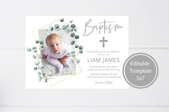 Baptism Invitation Boy INSTANT DOWNLOAD Baptism Invitation | Etsy