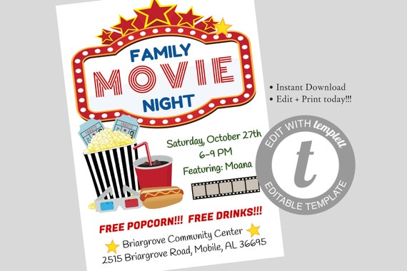 family movie night flyer editable template movie night etsy. Black Bedroom Furniture Sets. Home Design Ideas