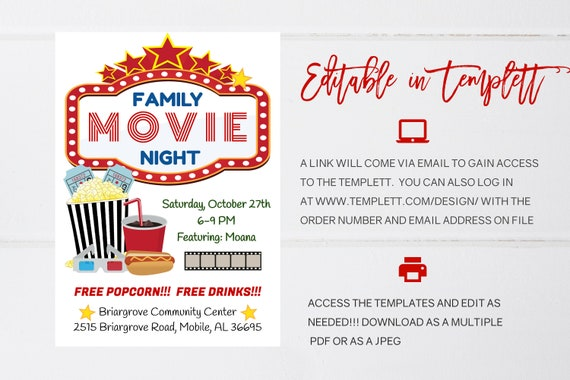 Family Movie Night Flyer Editable Template Movie Night Flyer Instant Download School Pta Church Movie Party Flyer Pto Fundraiser Flyer
