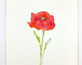 Poppy Watercolor, Abstract Poppy, Original Watercolor, Original Painting, Gift Idea, Home Decor, Minimalist Painting