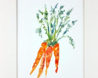 Original Watercolor, Carrot Watercolor, Vegetable Watercolor, Carrot Painting, Kitchen Decor