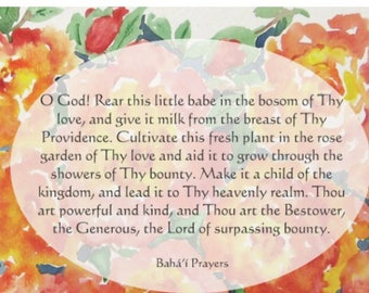 Baha'i Prayer Cards for Children, Set of Two 5x7, Floral Watercolor Design
