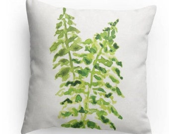 Decorative Fern Pillow, Watercolor Design, Throw Pillow , Fern Design, Home Decor, With pillow insert