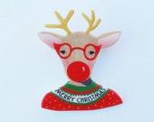Brooch // Pin // Rudolf // Christmas // shrink plastic // lllustrated jewelry  // Rudolf brooch // christmas brooch or magnet // Christmas