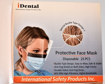 25 Disposable protective face mask with both sides anti fog eye shield