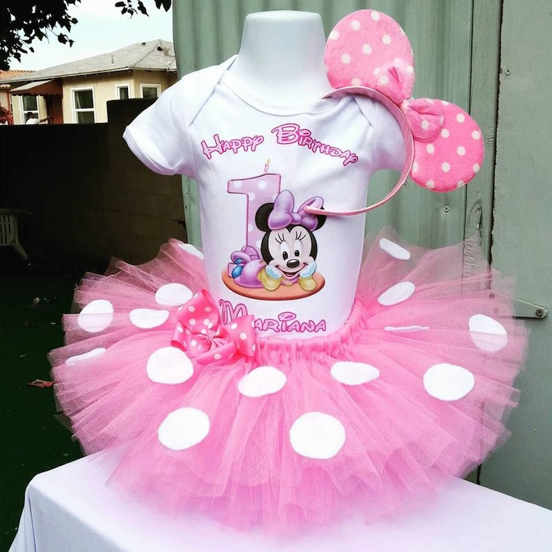 a7e3ac9d2277 Light pink Minnie Mouse 1st birthday tutu set   Baby Minnie