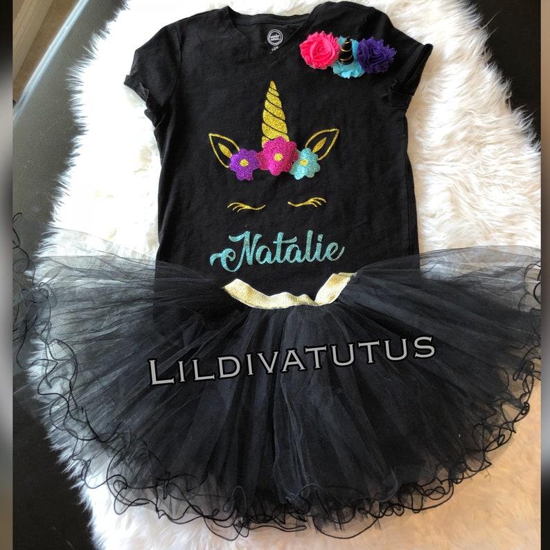 007918dade5cc Unicorn tutu set / Black unicorn tutu set / Black unicorn   Etsy