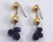 Beautiful Handmade Gold Plated 92.5 Sterling Silver Jewelry, Beaded Gemstone Blue Lapis 92.5 Sterling Silver Dangle Style Ear Wire Earrings