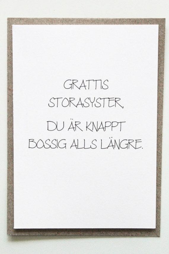 grattis storasyster Funny birthday card for sister roliga vykort till syster | Etsy grattis storasyster