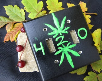 420 Puff paint double light switch cover