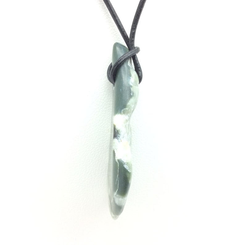 Wyoming Nephrite Jade Pebble Pendant Olive Green Natural Gem Stone Necklace #31