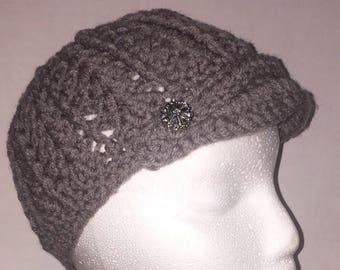 Women's Newsboy Cap with Brim - Crocheted Newsboy Hat - Chic Hat