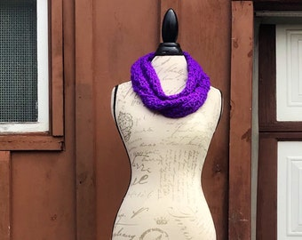 Crocheted Long Infinity Scarf - Royal Purple Infinity Scarf - Soft Scarf
