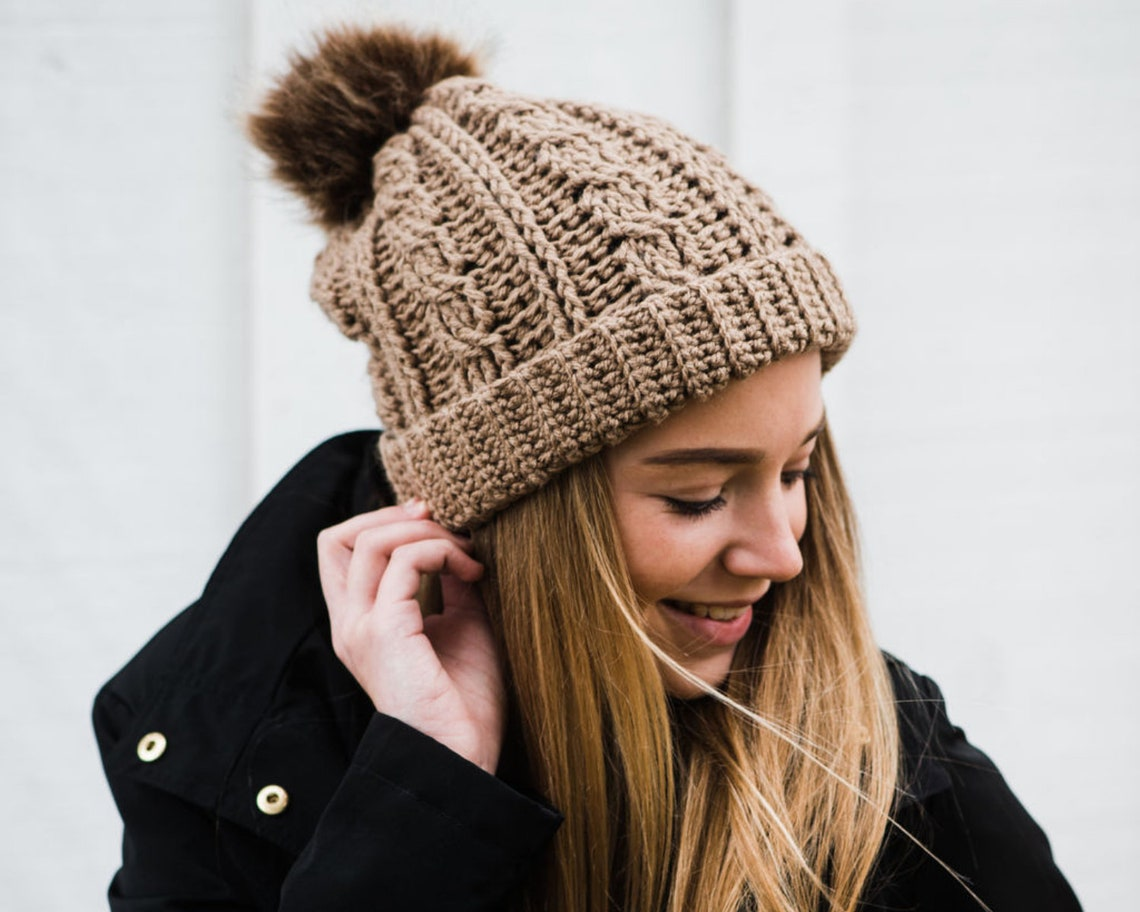 Women's Crochet Cable Beanie with Removeable Faux Fur Pom image 0