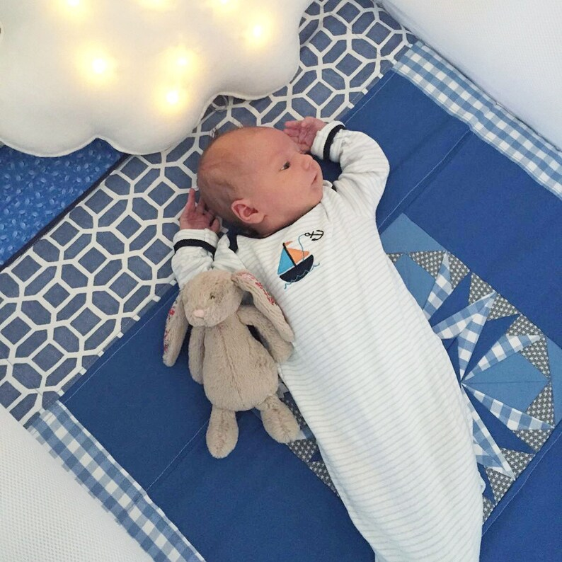 Star Patchwork Baby Blanket with Fleece Backing image 0