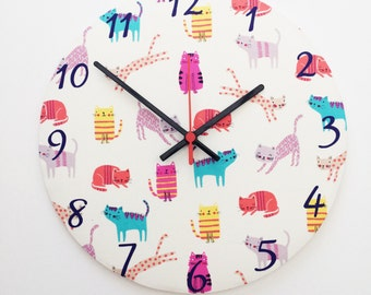 Cat print wall clock, cat lovers, cat gifts, cat owners, cat theme
