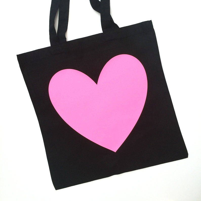 Neon/Sparkle Heart Cotton Tote Bag image 0