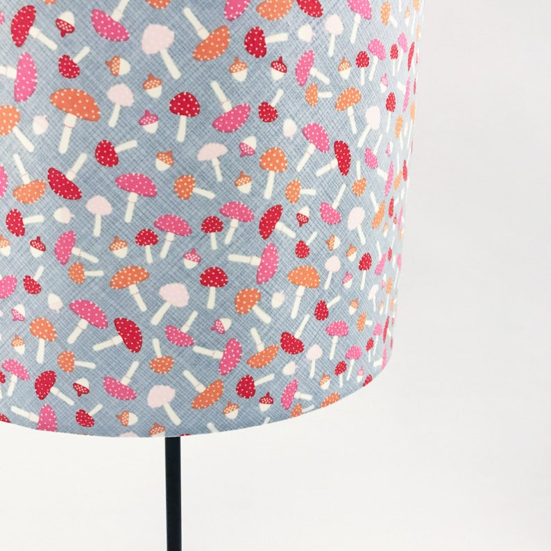 Toadstool pink  white and grey lampshade image 0