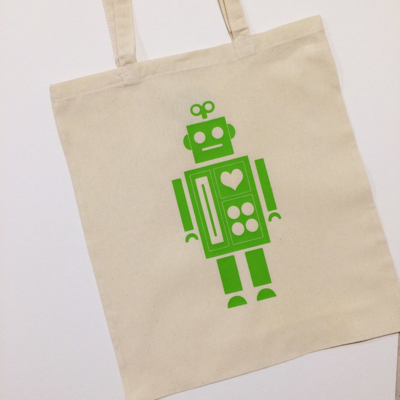 Robot Tote Bag With Optional Personalisation image 0