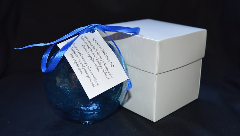 March Birthstone Ball with a Metal Stand