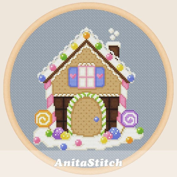 gingerbread house template etsy  Gingerbread house - Cross stitch pattern