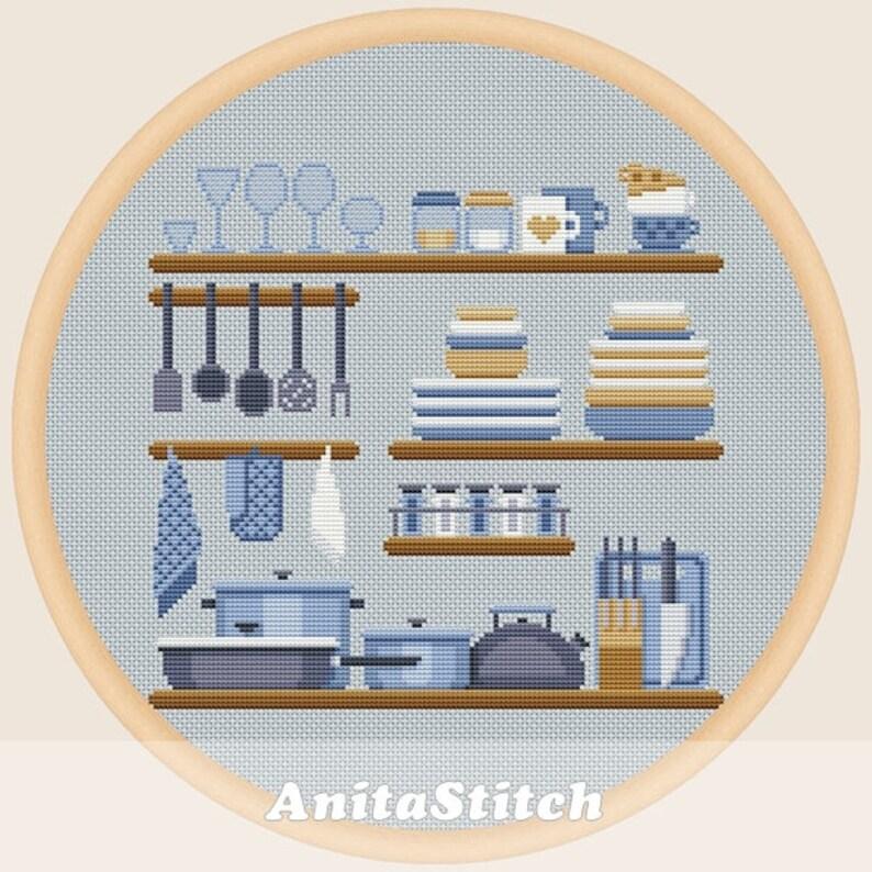 Kitchen shelves - Cross stitch pattern