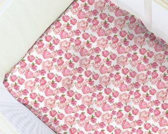 Watercolor Tea Roses Pack N' Play Sheet. Baby Bedding. Playpen Sheet. Floral Play Yard Sheet. Girl Playpen. Floral Nursery. Girl Sheets.