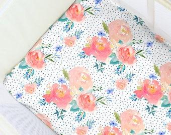 Sweet Floral Pastel Pack N' Play Sheet. Baby Bedding. Playpen Sheet. Floral Play Yard Sheet. Travel Crib Sheets. Floral Travel Crib Sheets.