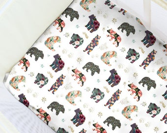 Alaska Bears Pack N' Play Sheet. Baby Bedding. Playpen Sheet. Floral Play Yard Sheet. Girl Playpen Sheet. Baby Girl Floral Nursery.