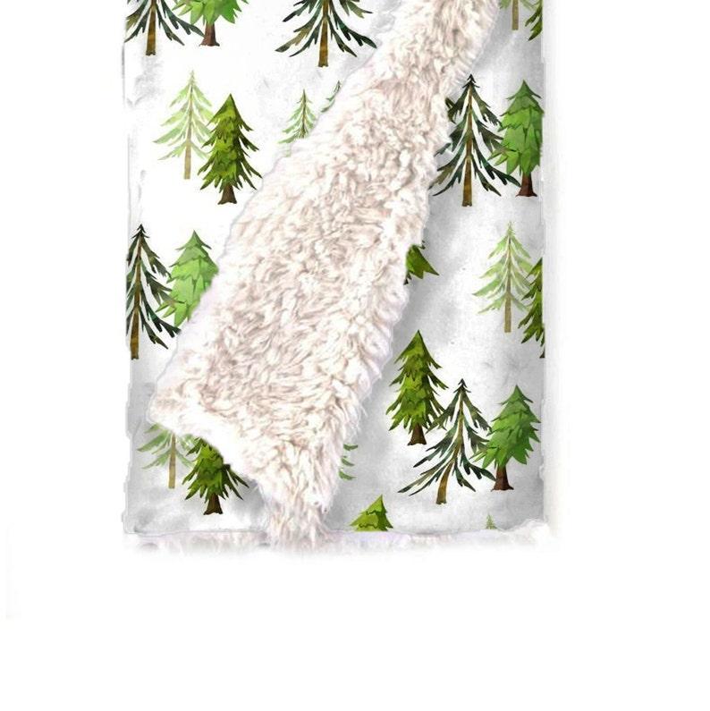 Trees Blanket Minky Blanket Gender Neutral Baby Blanket Pine Tree Blanket. Faux Fur Pine Forest Llama Love Woodland Nursery