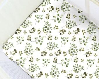 Eucalyptus Pack N' Play Sheet. Baby Bedding. Playpen Sheet. Minimalist Play Yard Sheet. Gender Neutral Playpen. Gender Neutral Nursery.