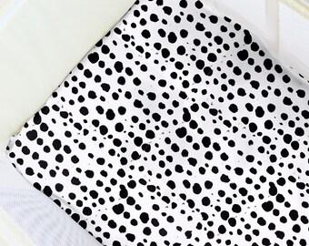 Ink Dots Pack N' Play Sheet. Baby Bedding. Playpen Sheet. Modern Play Yard Sheet. Black and White Playpen Sheets. Modern Travel Crib Sheets.