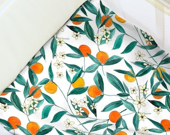 Pack N' Play Sheet Orange Blossom. Baby Bedding. Playpen Sheet. Minimalist Play Yard Sheet. Gender Neutral Playpen. Gender Neutral Nursery.