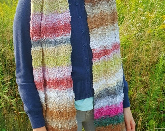 Hand Knit Scarf, Noro, Striped Scarf, Scarves, Scarf for Women, Scarf for Men, Mother's Day Gift, Gift for Men, Long Scarf, Open Ended Scarf